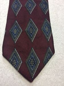 ROBERT-TALBOTT-MENS-TIE-BURGUNDY-WITH-BLUE-BROWN-WHITE-4-X-65-EXTRA-LONG