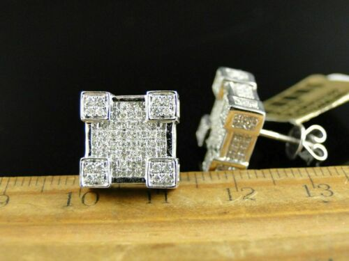 3.5ct Round Cut Diamond Square Cube Cluster Stud Earrings 14k White Gold Over