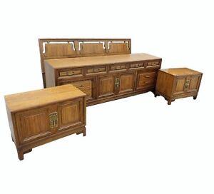 Vtg Daniel Jones Asian Inspired King Bedroom Set Dresser