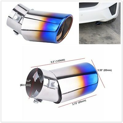Blue Bend Stainless Steel Auto Car Rear Oval Round Exhaust Pipe Tail Muffler Tip