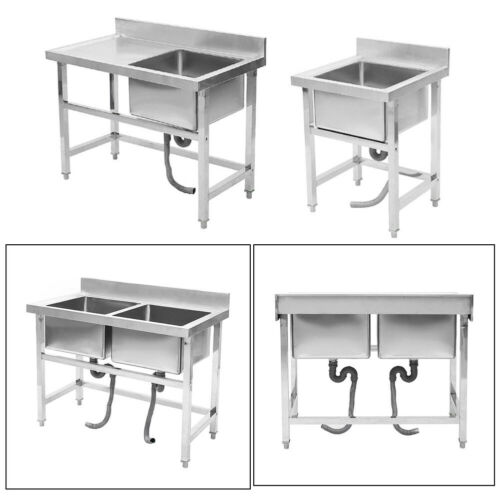 Single//Double Bowls Stainless Steel Sink Catering Kitchen Wash Basin Operation