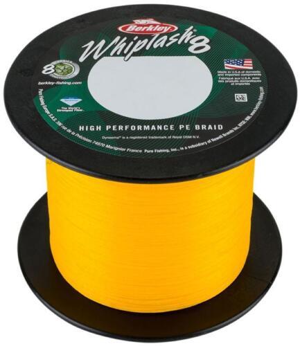 Berkley Whiplash 8 Braid 2000m Bulk Spools Green//Crystal//Yellow 24lb-260lb