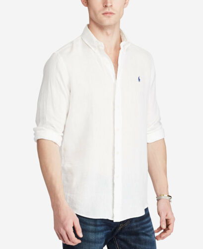 Polo Ralph Lauren Linen Button Down Long Sleeve Shirt White S-M-L-XL-XXL