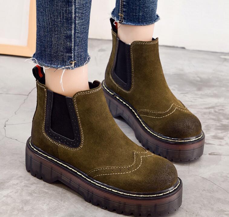 femmes Brogues Oxford New Combat Retro Mid Calf bottes Chunky Block Heel chaussures