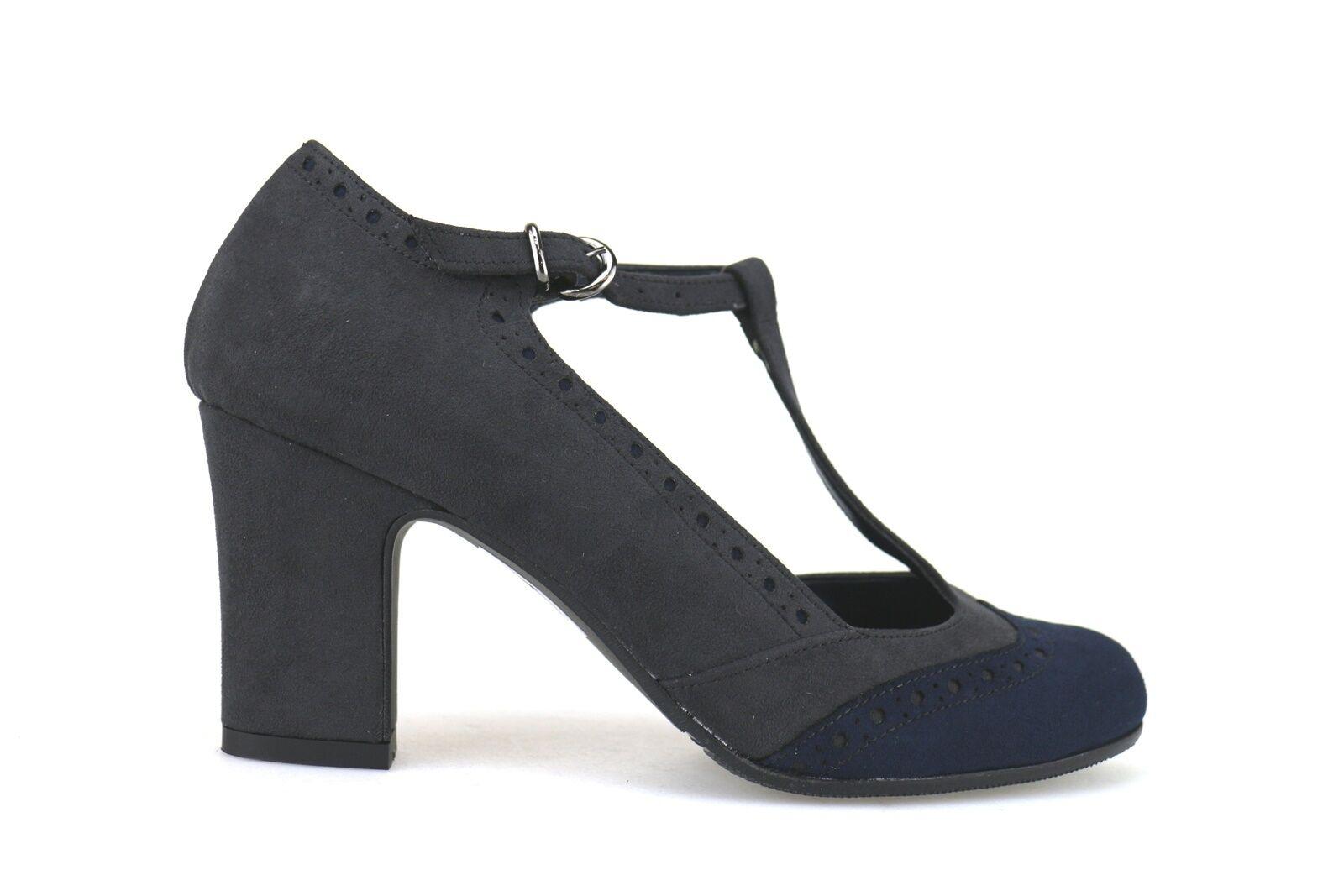 scarpe donna BOTTEGA LOTTI 39 decolte' grigio / blu camoscio AJ553-F