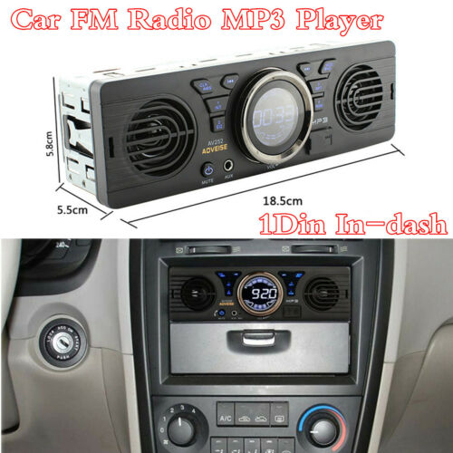 Dual Speaker 1Din Bluetooth Car Stereo Radio Audio FM USB TF-card AUX MP3 Player