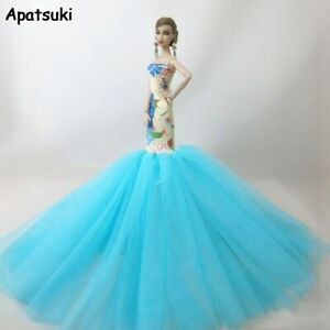 Blue-Fashion-Sirene-Vetements-pour-poupee-barbie-robe-queue-de-poisson-mariage-robe-de-soiree