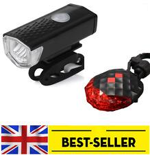 front USB led + rear 5 led laser light set - small bright lights flash bike UK