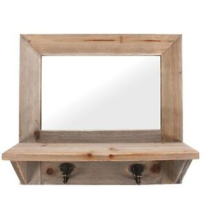 Rustic Driftwood Rectangle Natural Wood Wooden Wall Mirror With Shelf Hooks NEW