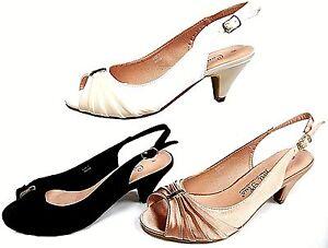 2b2c1f20fd9 Ladies Wide Fit TESS Sling Back Small Heel Satin Sandal Black