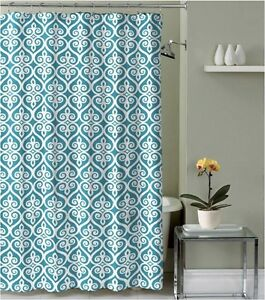 Teal Blue Beige White Decorative Fabric Shower Curtain