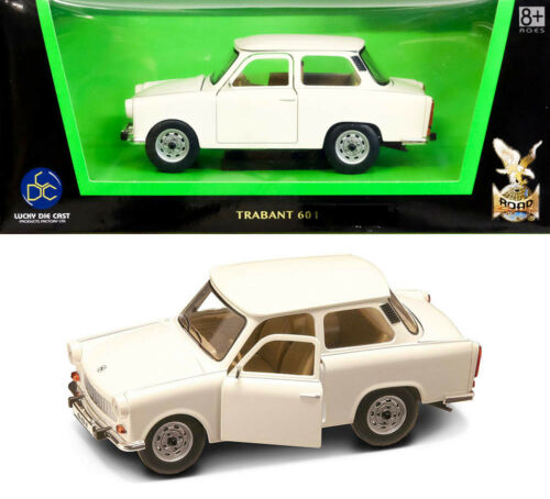 1964 Trabant 601 Weiß Trabbi P 601 DDR Trabi White 1:24 Lucky Die Cast 24216