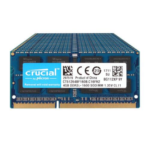 Crucial 16GB 8GB 4GB PC3L 12800 DDR3 1600MHz Laptop Memory RAM SO-DIMM Lot @QI