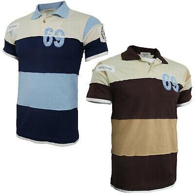 Mens Regular Fit Short Sleeve Striped Summer Tops Polo Shirt