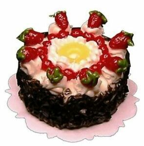 Dollhouse-Miniature-Strawberry-Topped-Pineapple-Ring-Cake-1-12-Scale
