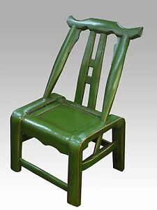 Image Is Loading A Chinese Antique Green Color Paint Hardwood Chair