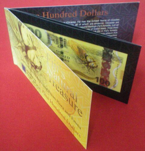 Fiji $100 1-Hundred Dollars FOLDER 2012 Bird Flora Fauna Currency Bank Note UNC