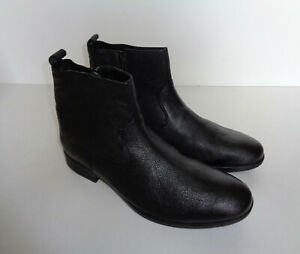 mens new black leather zip ankle chelsea casual boots