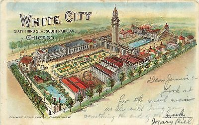 Vintage Private Mailing Card White City Block 63rd & Park Chicago IL Posted