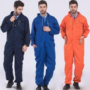 Men's Hooded Hoodie Overall Mechanic Protective Work Wear Suit Uniform Sz Hd214