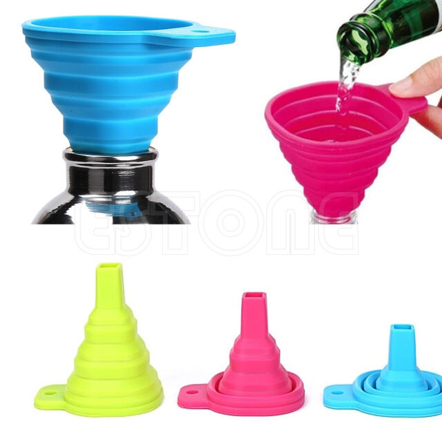 New 1pc Flexible Silicone Kitchen Oil Collapsible Funnel