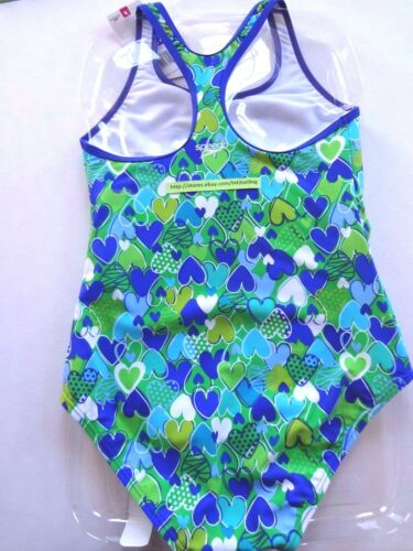 SPEEDO Swimsuit Girls Children Size 5 to 14 Green Blue Heart Pattern Mix Colors