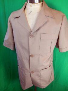 Vintage-60s-70s-Leisure-Master-Tan-Brown-Poly-Short-Sleeve-Safari-Style-Jacket-M