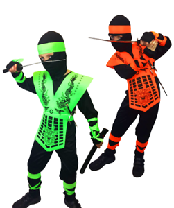 Image is loading BOYS-NEON-POWER-SAMURAI-DRAGON-NINJA-COSTUME-KIDS-  sc 1 st  eBay & BOYS NEON POWER SAMURAI DRAGON NINJA COSTUME KIDS CHILD KOMBAT FANCY ...