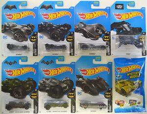 2017-Hot-Wheels-BATMAN-BATMOBILE-Complete-Set-of-8-Cars-w-Gold-Mystery-Tumbler
