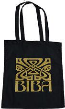 RETRO BIBA LARGE LOGO SHOPPING ECO TOTE BAG 100% BLACK COTTON VINTAGE GOLD PRINT