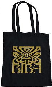 RETRO-BIBA-LARGE-ICON-LOGO-SHOPPING-ECO-TOTE-BAG-100-BLACK-COTTON-GOLD-PRINT