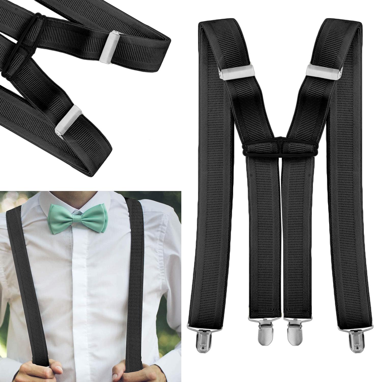 35mm para hombre X Forma De Vuelta Clip en adultos Tirantes Pantalones negro tirantes ajustable