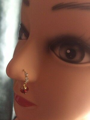 Hoop Nose Ring With Red Bead Jewellery Indian Pakistani Fashion