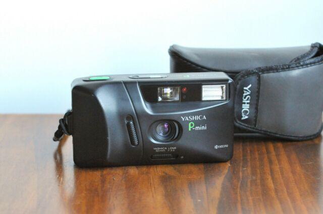 YASHICA P-Mini Kyocera  35mm film Camera, - Yashica Lens  32mm f/3.5  w/ Case
