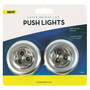 2x Brite Battery Operated Super Bright Led Push on Off Self Stick Spotlights UK