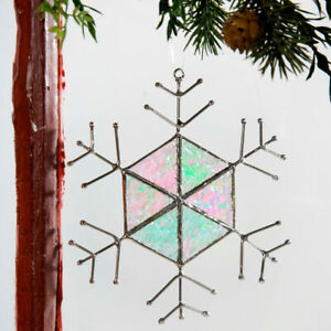 J Devlin Glass Art Iridescent Stained Glass Hex Snowflake Ornament Suncatcher