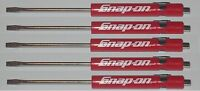 (5) Five Snap On Pocket Screwdriver, Flat Tip Screwdrivers, Red Magnetic .new.