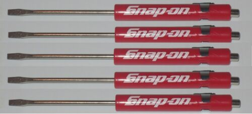 5 Snap on PROMO Screwdriver Flat Tip Screwdrivers Pocket RED ~ Magnetic .NEW.