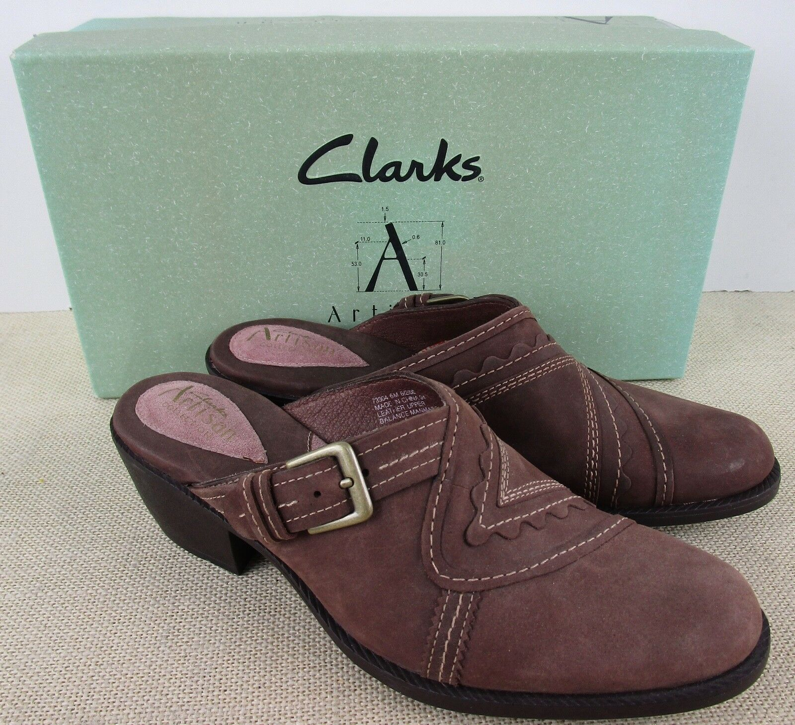 ARTISAN 73304 WOMEN'S HERALD BROWN LEATHER CLOG HEEL SHOES SIZE 6M NEW IN BOX