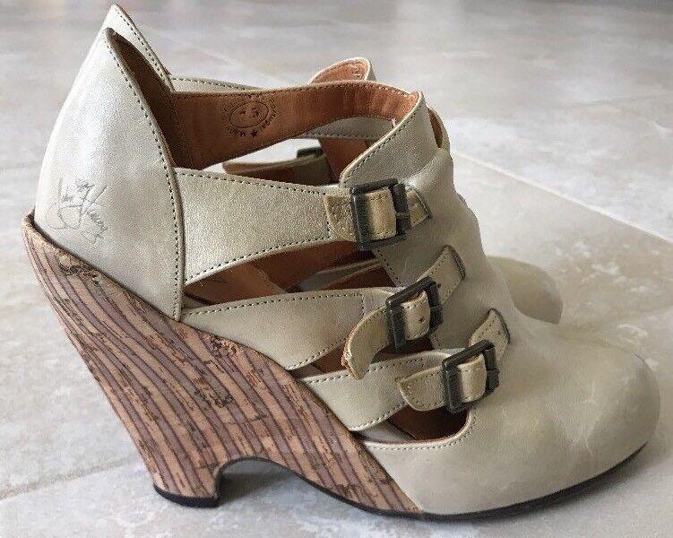 John Fluevog Wedge Platform 3 Buckle Strap Heels Size 7.5 Tan Brown