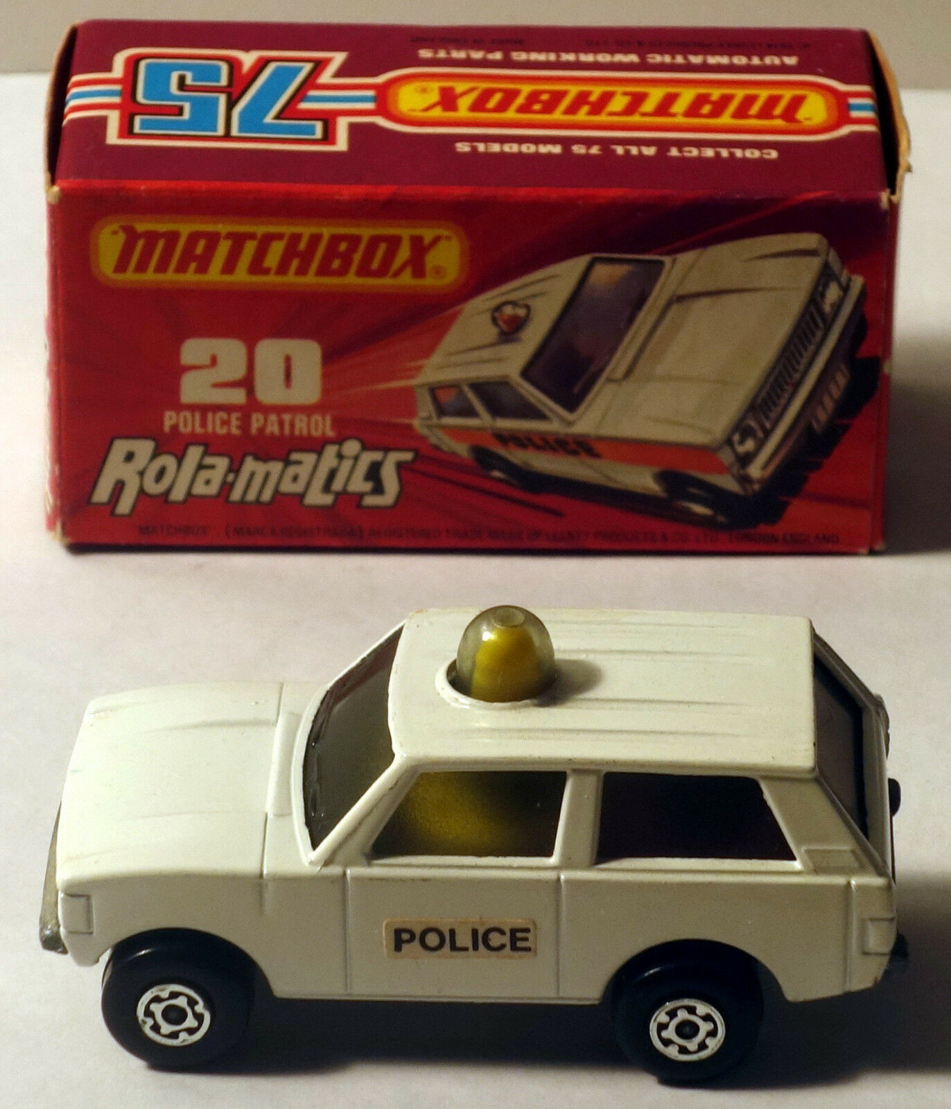 DTE LESNEY MATCHBOX SUPERFAST 20 WHITE POLICE W YEL YEL YEL DOME LT & POLICE DOOR LABELS 1a8a16