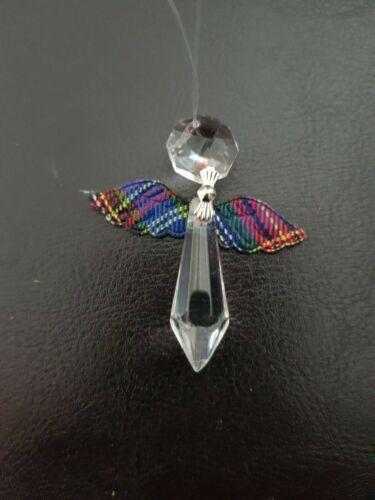 Suncatcher Tartan Wings Hanging Crystal Angel  Decoration