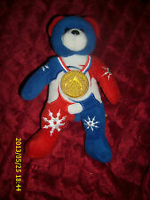 BEANS AUTHINTIC PLUSH 8 INCH RED WHITE BLUE BEAR 2002 SALT LAKE WINTER OLYMPICS