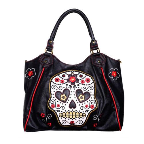 Banned Kunstleder Rockabilly Punkabilly Shopper Tasche Handtasche Sugar Skull