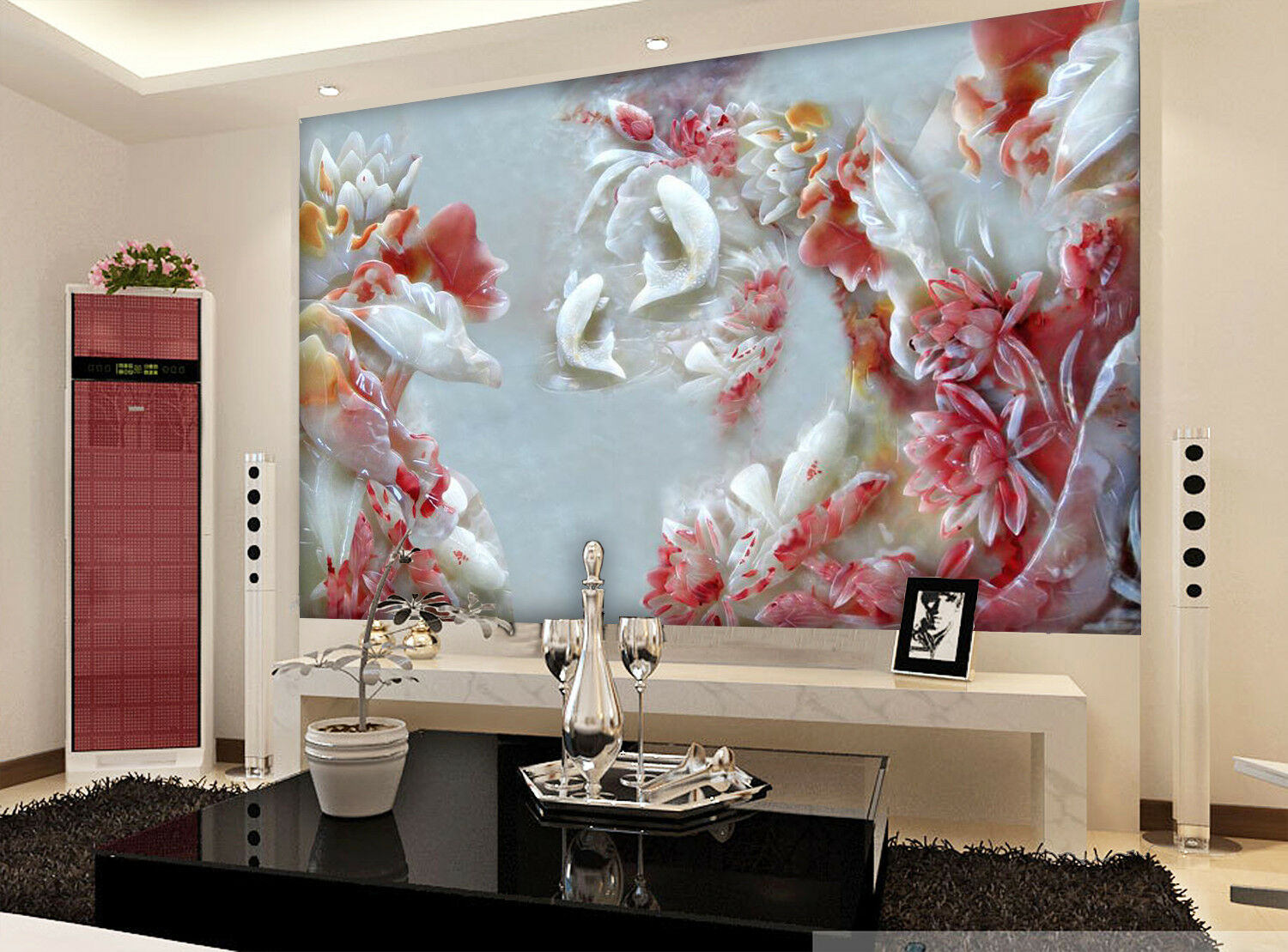 3D ROT Flower Fish 82 Wallpaper Mural Wall Print Wall Wallpaper Murals US Carly