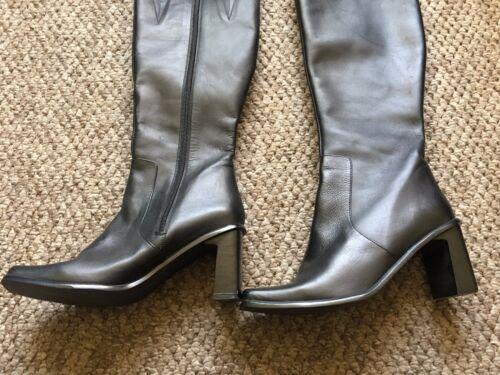 Taglia 3 ginocchio nera tacco con quadrato pelle tacco Heel con Stivali Tacco in 5 in alto Stivali neri pelle al rwzPtrXUnq