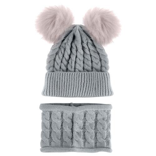 Jungen Mädchen Warme Fleece Ball Wintermütze Schal Set Kinder Beanie Mütze Neu