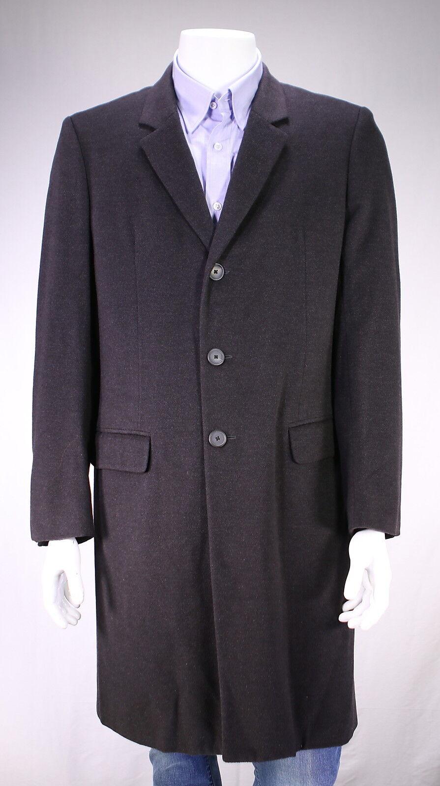 Jil Sander Tailor Made Einfarbig Grau 100% Kaschmir 3/4 Länge Spitzenmantel Us