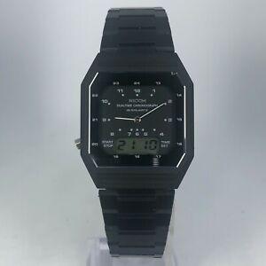 Vintage-Ricoh-Mens-120003-Alarm-Dual-Time-Chronograph-Black-Band-quartz-Watch
