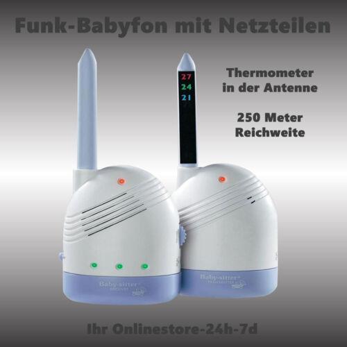 Babyfon Babysitter Lautstärenregelung 2 Kanal Funk 250m Reichweite Batterie//230V